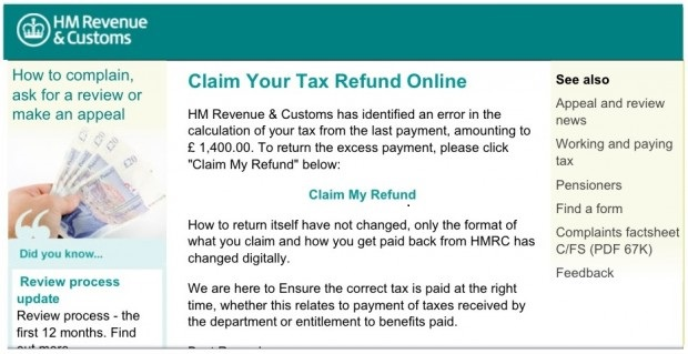 Phishing Examples 2013 Claim your Tax Refund ...
