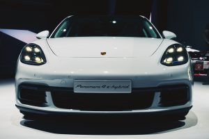 Paris, France - September 29, 2016: 2017 Porsche Panamera 4 e-hybrid presented on the Paris Motor Show in the Porte de Versailles